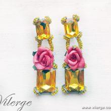 пролет цветя рози обеци красиви бижута за елегантни жени