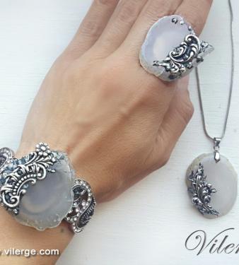 уникат арт ръчно изработена естествен камък жени подарък бижута