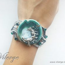 винтидж гривна естествен камък подарък за жени бижута
