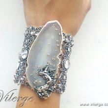 винтидж гривна ръчно изработена естествен камък жени подарък бижута