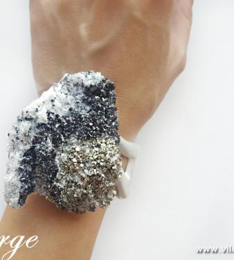 кварц пирит есен гривна камък подарък за жени бижута